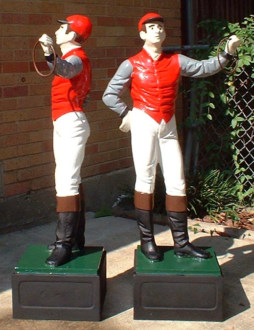 Lawn jockey statue painted cast aluminum replica for Lawn ornaments for sale